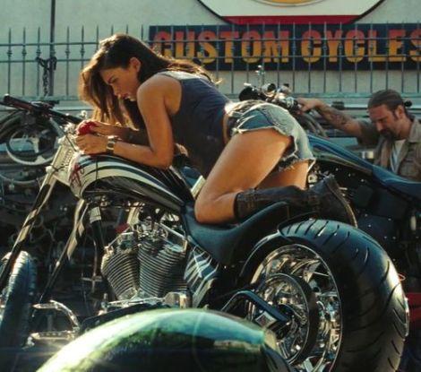 transformers 2 revenge of the fallen megan fox shorts motorcycle