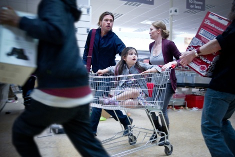 world war z movie supermarket shopping cart