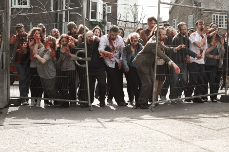 cockneys vs zombies large group fence